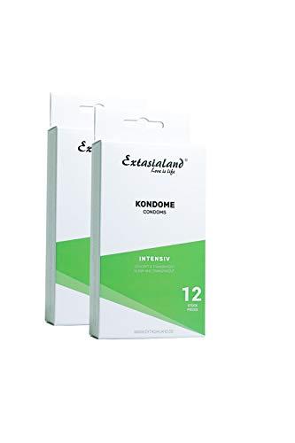 Extasialand 2x 12er Intensiv Marken-Kondome mit Noppen – Markenprodukt Condome im Doppelpack