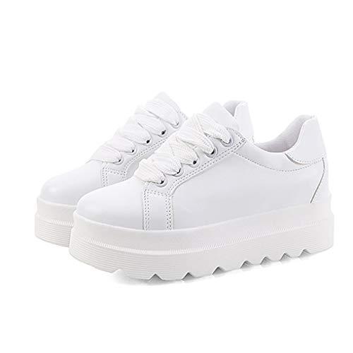 Zapatillas de Deporte de Moda para Mujer Mocasines de Cuero con Cordones de Plataforma de tacón bajo de Plataforma Baja Zapatillas Antideslizantes para Mujer Zapatillas Blancas