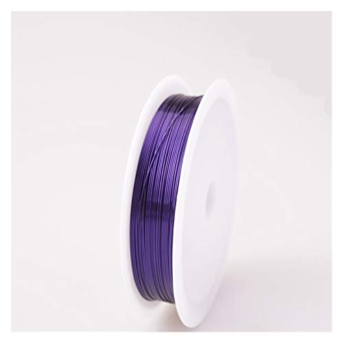 LUCHAO Joyas Wire Colorfast Alambre de Cobre for el Collar Pulsera Accesorios de DIY 0,3/0,5/0,6/1,0 mm Craft Rebordear Wire (Color : Púrpura, Talla : 0.4mm x 9.2M)
