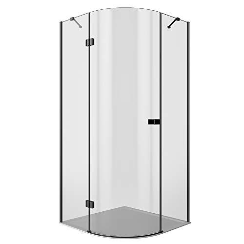 MARWELL LOFT Glasdusche 90 x 90 x 200 cm Eckeinstieg-55 cm Radius-6 mm Starkes ESG, Matt Schwarzes Design, 90 x 90 x 200 Viertelkreisdusche