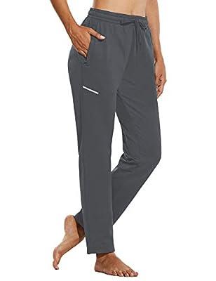 BALEAF Women's Fleece Sports Running Pants Athletic Sweatpants Travel Winter Joggers Zipper Pockets Drawstring Gray Size M