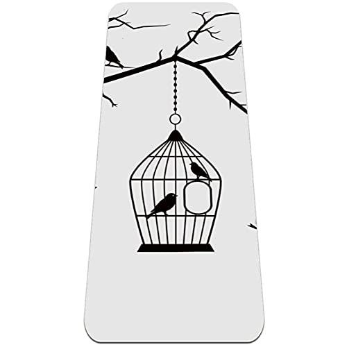 nakw88 Hermosa jaula de pájaros silueta plegable gimnasia Mat Yoga Mat Pad antideslizante perder peso impermeable deporte Mat ejercicio para gimnasio Pilates piso