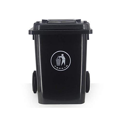 Vuilbak 80 liter vuilnisbak buiten licht gewheeled prullenmand verschuiven kan Multiple Color Classified afvalbak Hotel Commercial Trash kunnen verdikken buiten (kleur: groen maat: 80L) 80 l, donkergrijs