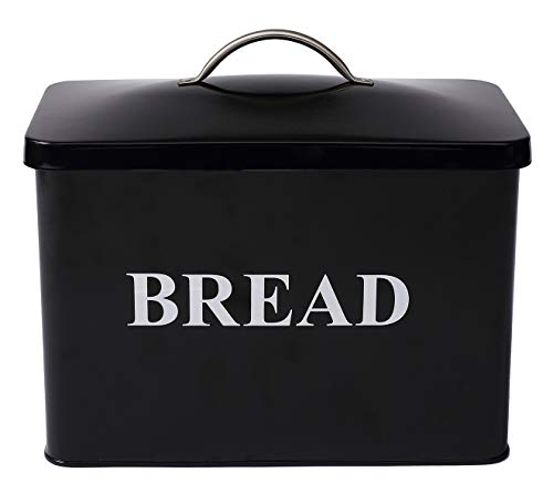 Metal Bread Bin Loaves Storage Canister Tins - Tight Fitting Lids - Countertop Space-Saving, White-Coated Carbon Steel Safty - Style 1 - Black