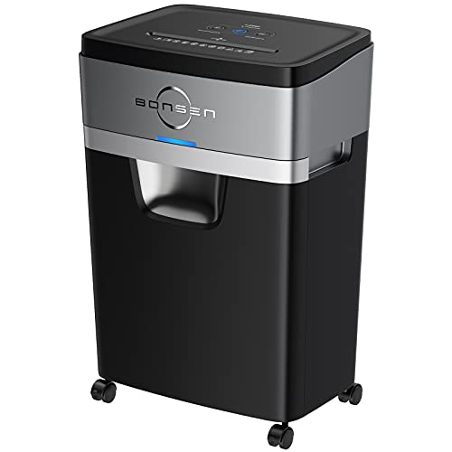 BONSEN 18-Sheet Paper Shredder, 30-Minute Heavy Duty Cross-Cut Paper & Credit Card Shredder for Office, Quiet Shredder with 6.6 Gallons Pullout Basket (S3104)