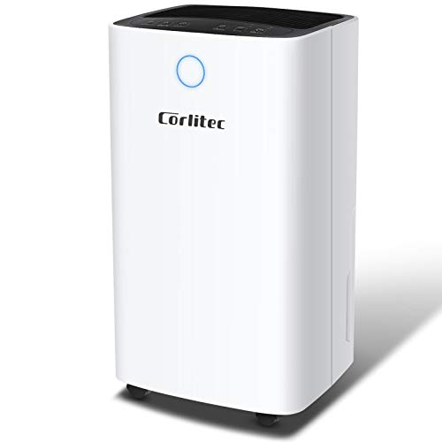 Corlitec 12L/Day Dehumidifier with Digital Humidity Display & Control, Childlock, Laundry Dry, and Timer for Home/Basement/Office, 2L Water Tank & Drainage Hose for Damp & Condensation