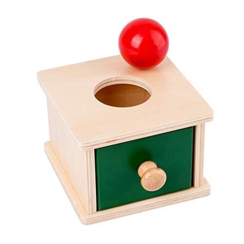 Tomaibaby Montessori Object Permanencia Caja de Juguete de Madera Bandeja Y Bola Gota Juguetes Caja de Coordinación Mano- Ojo Juguetes Educativos para Niños Pequeños (Estilo de Cajas de