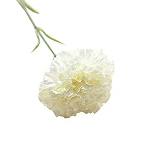 Mother's Day, Artificial Carnation Flower – Silk Featuring Bouquet Plastic New Larger Bloom Size for Realistic Flower Arrangements, Weddings, Flowers, Home Decor or Office (White)