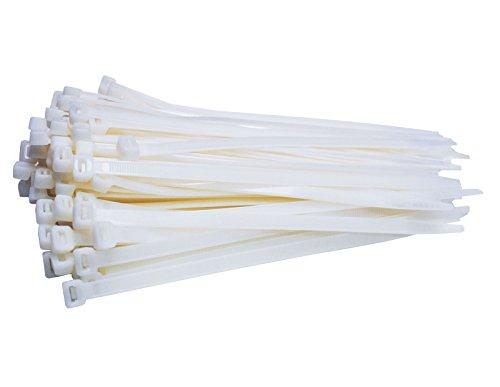 100 Stück Profi Kabelbinder Industriequalität weiß 300 mm x 7,6 mm für Industrie PC Fahrrad XXL Nylon cable ties stark breit weiss 54,4 kg Zugkraft von Damstone