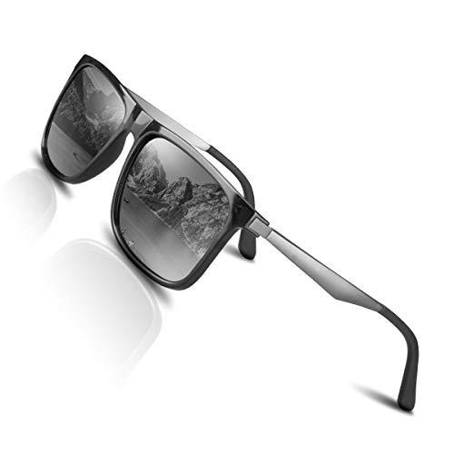 CHEREEKI Gafas de Sol Hombre Mujer Polarizadas UV400 Protection Clásico Retro Gafas (Plata)