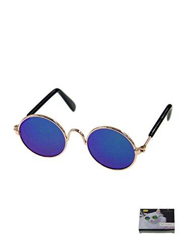 MMY, occhiali da sole rotondi per animali con montatura in metallo, per gatti o cani di piccola taglia, 1 confezione