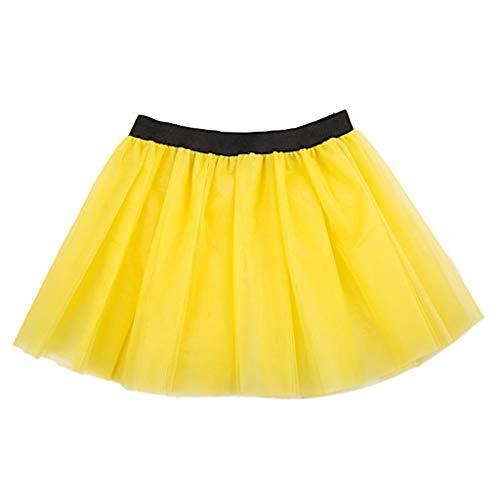 JERKKY onderjurk voor dames en volwassenen, 3-laags, Tutu, balletdrok met brede riem, prinses, opvouwbaar, gebreid, ondergoed, geel