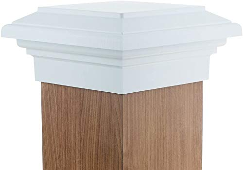 8x8 Post Cap (7.5')   White Flat Top Newport Newell Square Cap for Outdoor Fences, Mailboxes & Decks, by Atlanta Post Caps