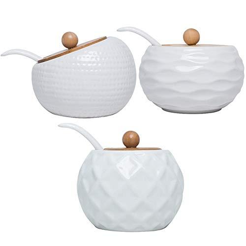 Portaspezie in ceramica e bambù, con cucchiaio da portata e supporto in bambù, set da 3 pezzi