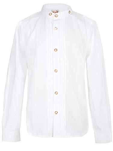 Stockerpoint Jungen Hemd Leon jr. Trachtenhemd, Weiß (Weiss Weiss), 122/128 (Herstellergröße: 122-128)