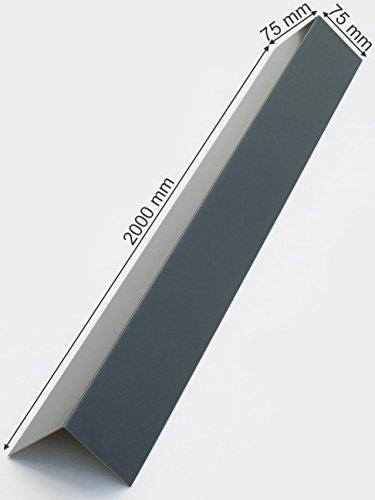 Winkelblech 2000mm lang, Alu Blechwinkel, Dachblech, Abschlußblech Winkel 90° Eckwinkel Anthrazit Grau RAL 7016 (75mm x 75mm)