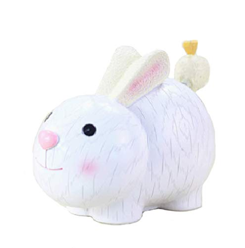zoele Cute Cartoon Rabbit Resin Piggy Bank Coin Bank Safe Money Box Saving Bank Storage Box Best Christmas Birthday Gifts for Kids Boys Girls Home Decoration (D)