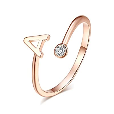 HUASAI Ross Gold Initial Ring for Women Adjustable 26 Stackable Alphabet Rings with Initial Name Knuckle Ring for Bridesmaid Gift (A)