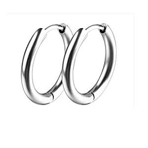 HUOQILIN ネットイヤー男性のバックル韓国の赤のファッションメンズチタン鋼の耳バックルイヤリングチタン鋼の流入と、単一の黒人男性の宝石パーソナライズされたイヤリング (Color : Silver, Size : 14mm)