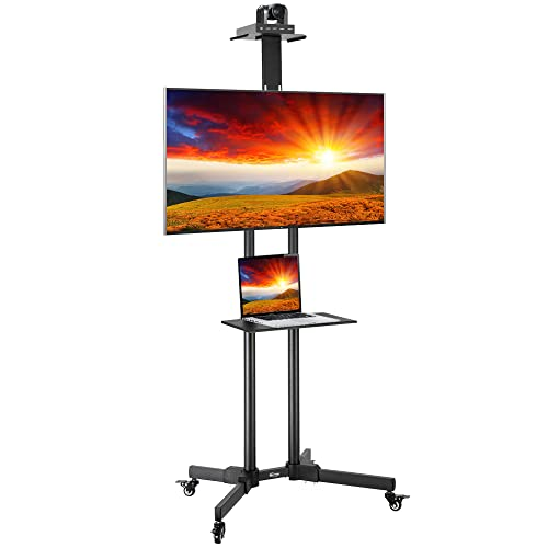 ShowMaven Rolling TV Cart with Wheels for 32' to 70' Flat Curved Panel Screen, Adjustable Portable TV Stand with Wheels, Hold Up to 110 lbs