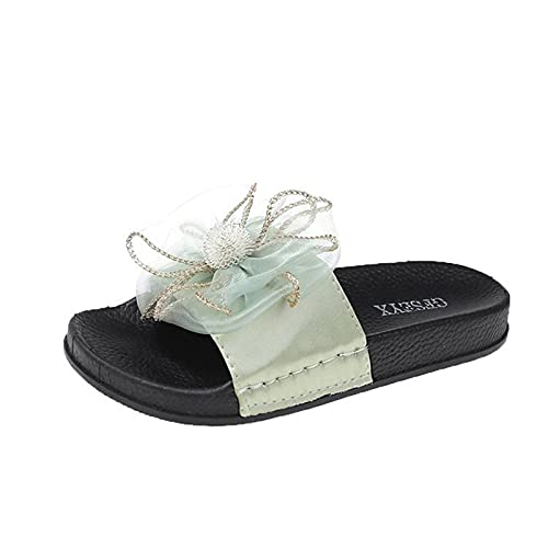 URIBAKY - Sandalias de verano para mujer, modernas, cómodas, de tejido a rayas, sandalias planas y zapatillas, Verde (verde), 42 EU