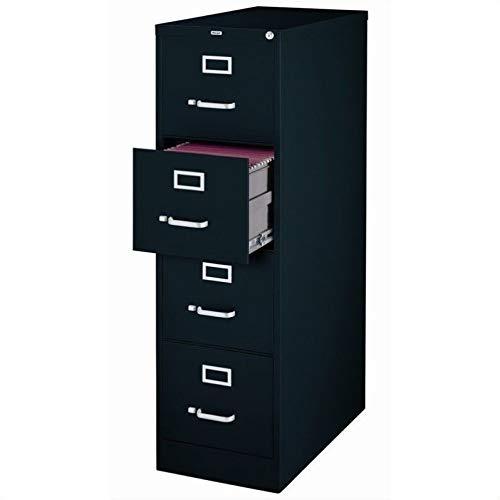 """25"""" Deep Commercial 4 Drawer Letter Size High Side Vertical File Cabinet Color: Black"""