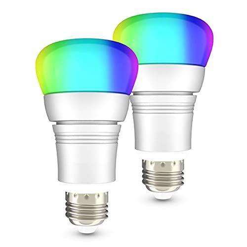 LCYZ Bombilla Inteligente WiFi Alexa, 2 Pack Bombillas Que Cambian Color RGBW, Compatible con Alexa, Google Home, Regulable E27 / B22 Multicolor RGB, 600 Lúmenes, No Requiere Concentrador