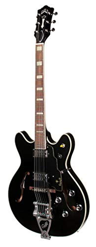 Guild Guitars Starfire V Semi-Hollow Body Electric Guitar, Black, Double-Cut w/tremolo, Newark St. Collection, with Hardshell Case