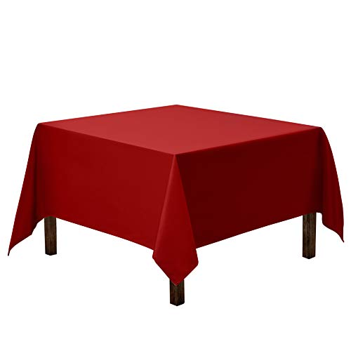 Gee Di Moda Square Tablecloth - 85 x 85 Inch - Red Square Table Cloth for Square or Round Tables in Washable Polyester - Great for Buffet Table, Parties, Holiday Dinner, Wedding & More
