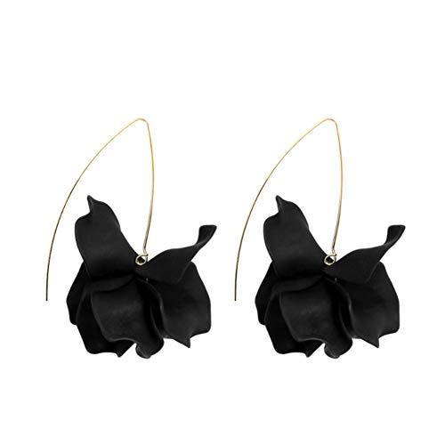 Nowbetter Pendientes de pétalos bohemios hechos a mano de tela larga para novia, boda, fiesta, San Valentín, regalo para mujeres y niñas (negro)