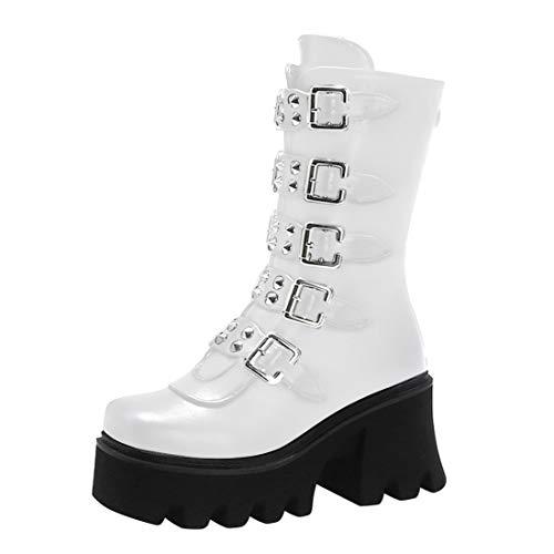 Lifemaison Damenplattform Martin Stiefel High Heels Vintage Gothic Punk Knie Hohe Stiefel wasserdichte Metall Gürtelschnalle Zurück Reißverschluss High Heel Schuhe(Weiß,41 Code)