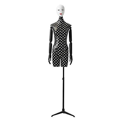 AJZGF Maniqui de Costura maniquí de costurera Torso Negro escaparate Tienda de Ropa con Modelos adaptados Puntos Blancos maniqui Mujer