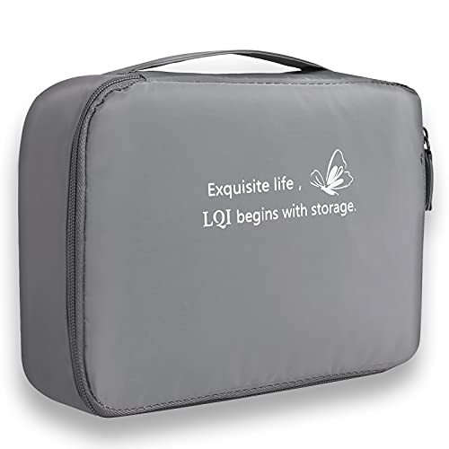 Travel Cosmetic Bag, Portable Make Up Bag, Large Waterproof Makeup Bag Organizer, Storage Bag with Adjustable Dividers, Cute Toiletry Bag for Women and Girls LQI (Grey)