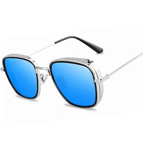 Gafas De Sol Polarizadas Brand Design Steam Punk Men Sunglasses Gafas De Sol Fashion Men's Driving Metal Sun Glasses Fishing Travel Eyewear Silverblue