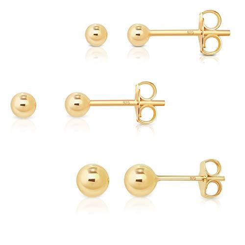 DTP Silver - Set da 3 paia di Orecchini da donna a perno con sfera/palla - Argento 925 Placcato in Oro Giallo - Diametro 3, 4, 5 mm