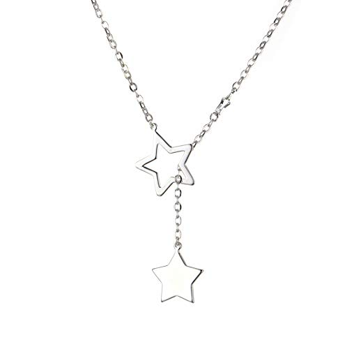 Double stars sterling silver plated lariat Y drop necklace for women 45cm MT-H052P