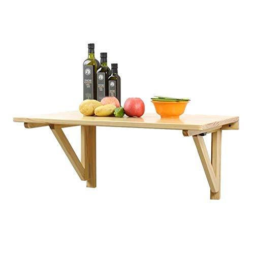 Table portable en bois massif Bureau mural Table à manger pliable Cuisine Comptoir Décoration de la maison Convient pour le salon de la famille Chambre intérieure(Couleur:Marron,Taille:100x50x36cm)