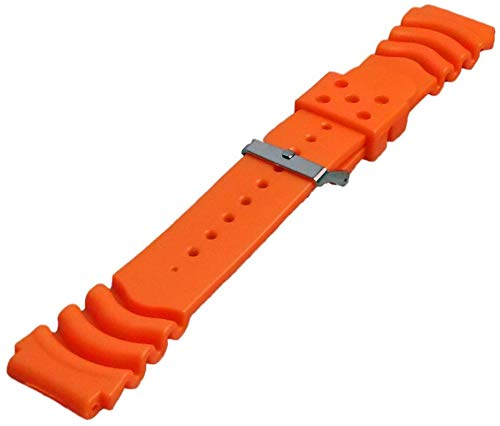 Kautschuk Uhrenarmband Orange passend Seiko Citizen 20-22mm Armband Uhrband 22mm
