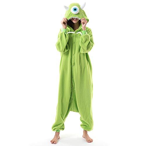 Beauty Shine Unisex Adult Animal Costume Halloween Onesies Plush Pajamas (Large, Mike Wazowski)