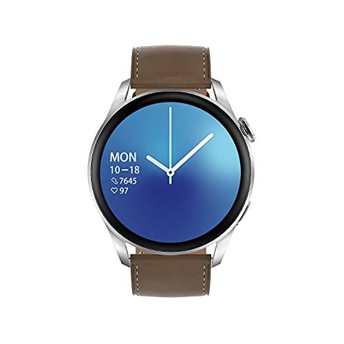 Aliwisdom - Reloj Inteligente para Hombre Mujere, Redondo Smartwatch DT3 con Llamadas Bluetooth y Recordatorio de Whatsapp Impermeable Reloj Deportivo Correa de Metal para iPhone Android (Plata)
