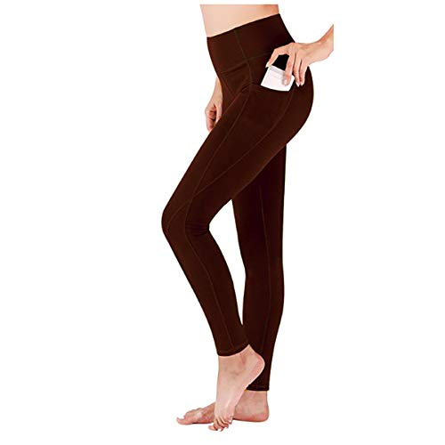 High Waist Yoga Pants with Pockets, Tummy Control, Workout Pants for Women 4 Way Stretch Yoga Leggings with Pockets (Yoga Pocket Pants-Deep Brown, Medium)