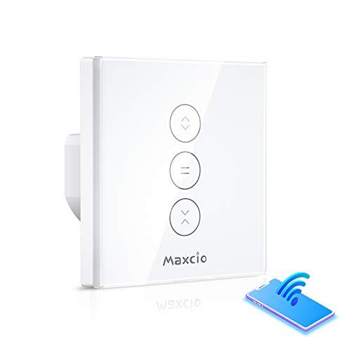 Alexa Rolladen Zeitschaltuhr, Maxcio Smart Jalousien Vorhang Schalter, Kompatibel mit Alexa und Google Home, APP Fernbedienung und Timing-Funktion, Touch-Schalter, Nullleiter Erforderlich