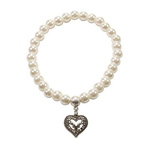 Alpenflüstern Perlen-Trachten-Armband Strassherz Hirsch klein - Damen-Trachtenschmuck, elastische Trachten-Armkette, Perlenarmband Creme-weiß DAB064