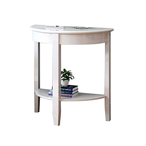 Table Console Table,Solid Wood Semicircle Table Living Room Sofa Table Corridor Entrance Cabinet Decorative Table White/Brown 2 Size For Living Room Bedroom Home