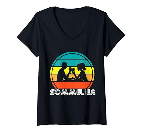 Femme Rétro Couple Buveur Sommelier Employé de restaurant T-Shirt avec Col en V