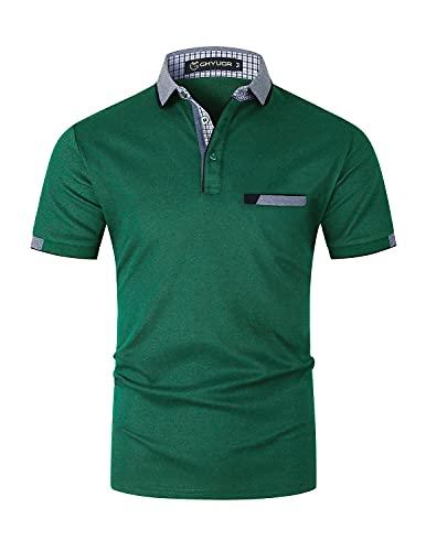 GHYUGR Elegante Polo da Uomo Manica Corta T Shirt Cotone Cucitura Classica Maglietta Commerciale Camicia per L'Ufficio (XL, Verde)