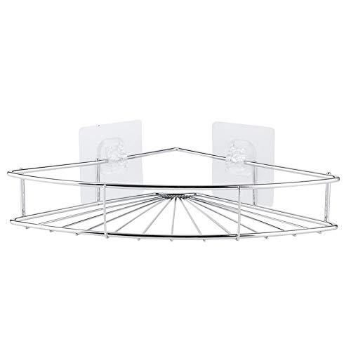 Estante de almacenamiento triangular de acero inoxidable sin perforaciones Estante de baño de esquina Organizador de estante con adhesivo Estante de esquina de baño de plata Diseño clásico Estante de