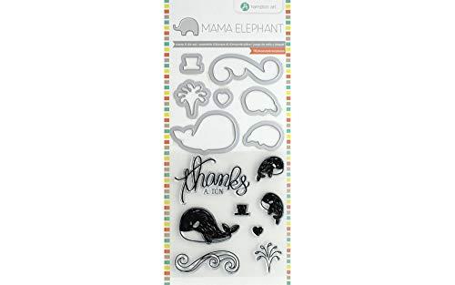 Hampton Art Mama Elephant Stamp & Die Set 4'X8' Whale Thanks, Multi
