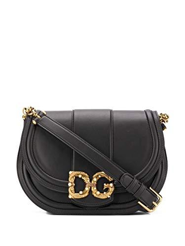 DOLCE E GABBANA Luxury Fashion Damen BB6826AK29580999 Schwarz Leder Schultertasche | Jahreszeit Permanent