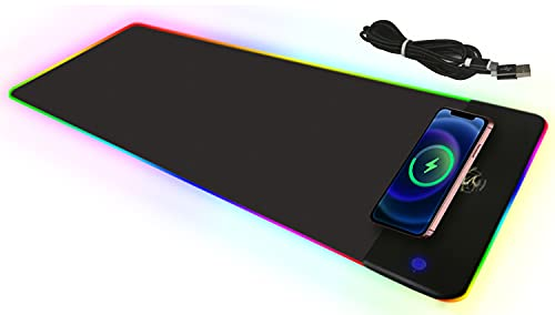 Laixp RGB Mouse Pad,15W RGB Gaming Wireless Charging Mouse Pad,Large Size 10-Light LED Keyboard Mat,Anti-Slip Rubber Base,Water-Proof,Large Keyboard Pad for Laptop (800x300mm)